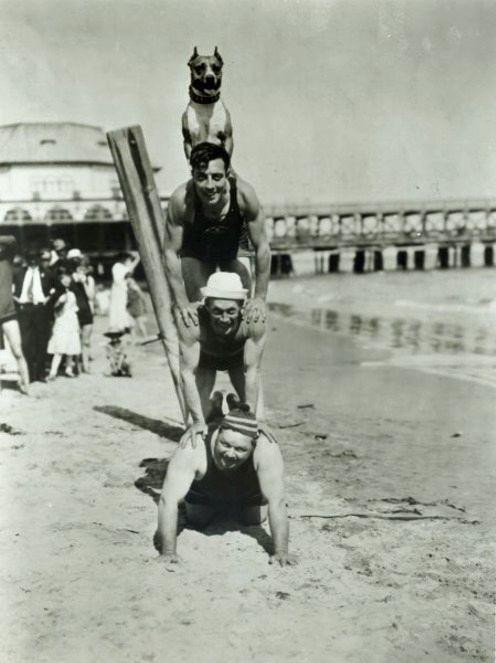 Luke atop Buster Keaton, Al St. John and Roscoe Arbuckle